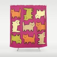 cartoon Shower Curtains featuring Cartoon Kitties by Irina  Romanovsky