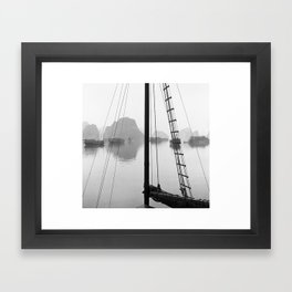 At the Helm in Halong Bay Framed Art Print