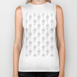 Hand drawn black white sunflower geometrical  pattern Biker Tank