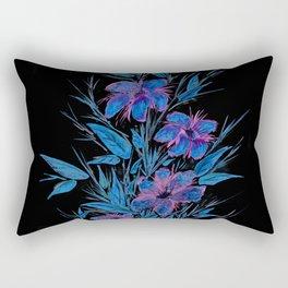 Blue and Purple Flowers on Black Rectangular Pillow