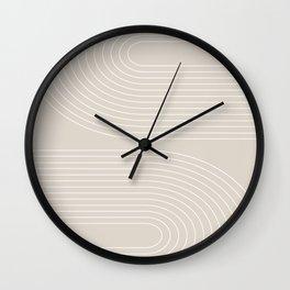 Geometric  Curves in Beige Wall Clock
