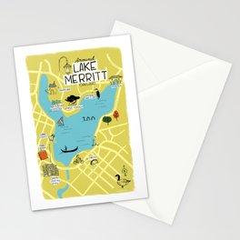 Around Lake Merritt, Oakland Map Stationery Cards