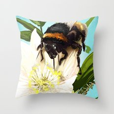 Bee on flower 5 Throw Pillow