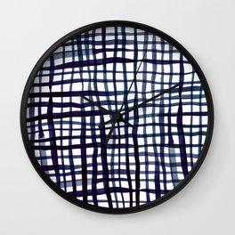 Watercolor doodle gingham - indigo Wall Clock