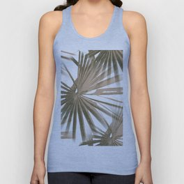 Brown on White Tropical Vibes Beach Palmtree Vector Unisex Tank Top