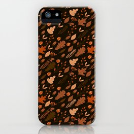 Autumn Leaves and Ladybugs Pattern Dark iPhone Case