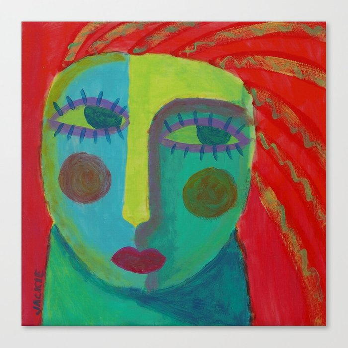 Colorful Abstract Face Original Acrylic Painting Canvas Print By Jackieludtke