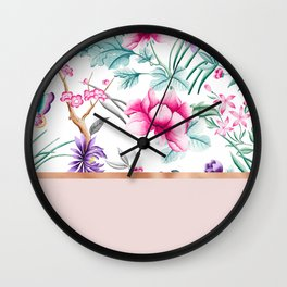 Chinoiserie pearl white floral & rose gold Wall Clock