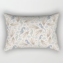 Grey squid with seahorse and coral on beige background Rectangular Pillow