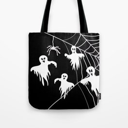 White Ghosts spider web Black background Tote Bag