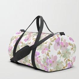 Pink violet mint green gold glitter floral Duffle Bag