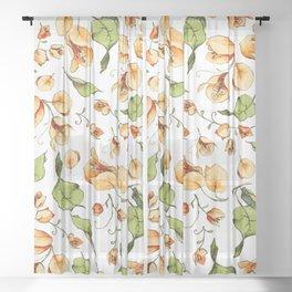 Orange Bougainvillea Illustration Sheer Curtain