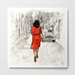 Woman in Red Dress Metal Print