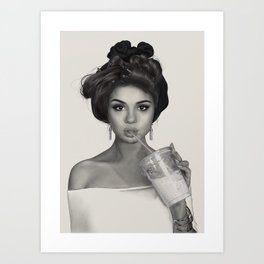 Girl with hair curlers Art Print