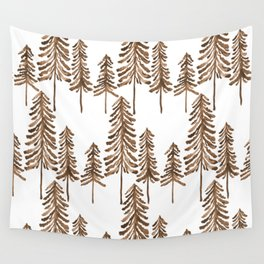Pine Trees – Sepia Palette Wall Tapestry