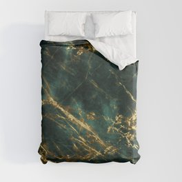 Lavish Velvety Green Marble With Ornate Gold Veins Duvet Cover