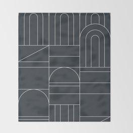 Deco Geometric 04 Black Throw Blanket
