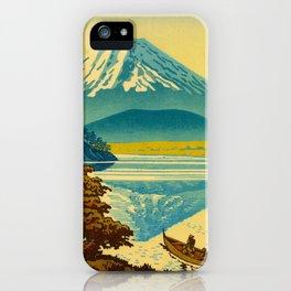 Japanese Woodblock Print Vintage Asian Art Colorful woodblock prints Asano Takeji Lake Shojin iPhone Case