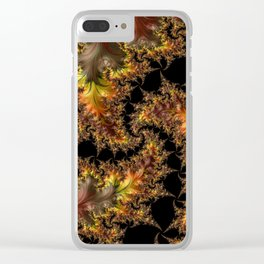 Autumn Leaves yellow brown orange Fractal Clear iPhone Case