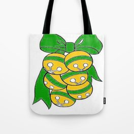 Gold Sleigh Bells With A Green Bow Tote Bag