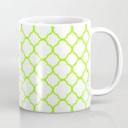 Green, Lime: Quatrefoil Clover Pattern Coffee Mug