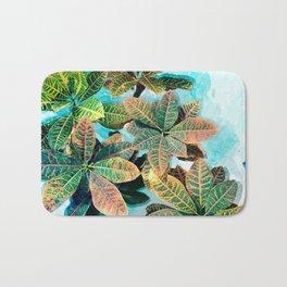 Botanic Leaves Print In Fresh Colors Bath Mat