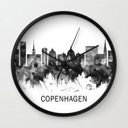 Copenhagen Denmark Skyline BW Wall Clock