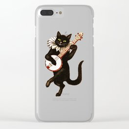 Funny Vintage Cat Dancing and Playing Banjo Clear iPhone Case