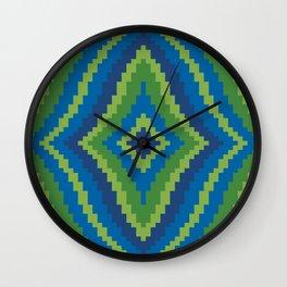 Peacock Color Wavy Diamond Wall Clock
