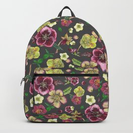 Hellebore flowers blossom - DARK Backpack