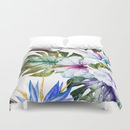 Watercolor Tropical Hibiscus Duvet Cover