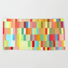 colorful rectangle grid Beach Towel