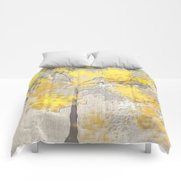 Abstract Yellow and Gray Trees Comforters