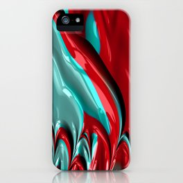 Red and Turquoise Fractal iPhone Case