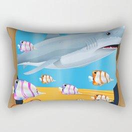 Australia Underwater shark travel poster Rectangular Pillow
