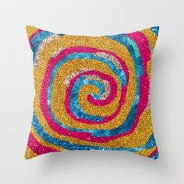 Glitter Roll Spinning Art Throw Pillow