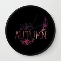 typo Wall Clocks featuring AUTUMN  typo by Cindys