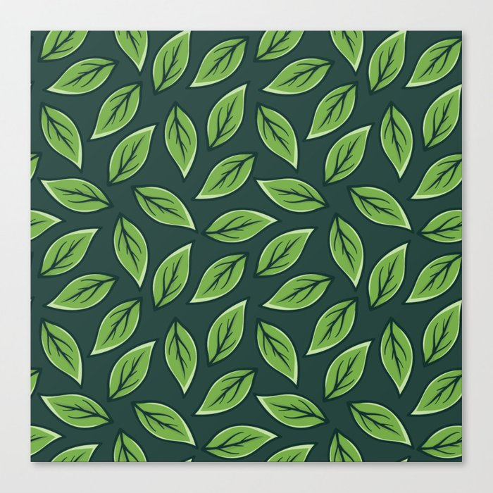 Green Leaf Pattern Canvas Print