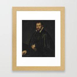 "Tintoretto (Jacopo Robusti) ""Portrait of a gentleman, three-quarter-length"" Framed Art Print"