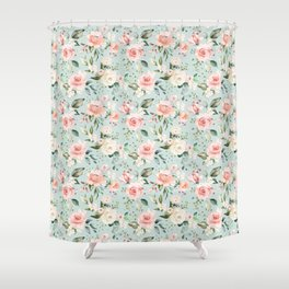 Pink Blush Cream Flowers He Is Risen As He Said Easter Quote Shower Curtain