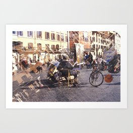 Artists at Piazza Navona (waiting for something to do) Art Print