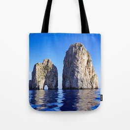 Faraglioni Rocks of the coast of the island of Capri, Italy Tote Bag