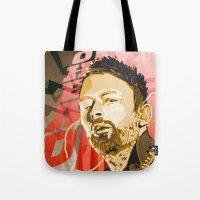 radiohead Tote Bags featuring Radiohead by Ferdinand Bardamu