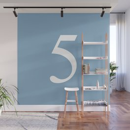 number five sign on placid blue color background Wall Mural
