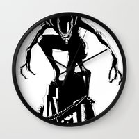 alien Wall Clocks featuring Alien by Michelle Woodward
