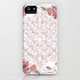 Mandala Garden Roses Warm Rose Gold iPhone Case