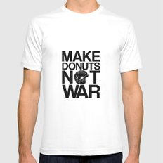 Make Donuts Not War White Mens Fitted Tee MEDIUM