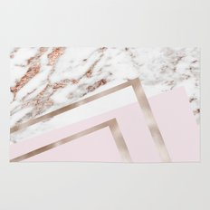 Geometric marble - luxe rose gold edition I Rug