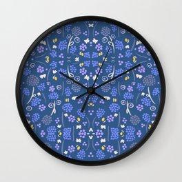 Blue berries - walking in the wood Wall Clock