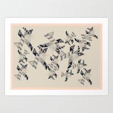 B&W Aztec pattern illustration Art Print